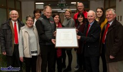 St. Mary's Basketball Club members with their Kerry County Council scroll at the civic reception in their honour at Castleisland Area Services Centre on Wednesday. Included are from left: Tim Egan, Síle Kenny, Liz Galwey, Eamon Egan, Bríd Kenny, Reidín O'Loughlin, Joan Nolan, Maurice Casey, Donal 'Duke' O'Connor, Aoife Nolan and Ned O'Callaghan.©Photograph: John Reidy