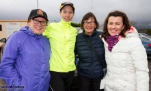 Noreen Harrington, Kenmare (left) with Clare Brennan and Noreen McEnery, Brosna and Michelle Dore, Templeglantine at the start of the Kerrie Browne 5K memorial run / walk in Brosna on Sunday morning. ©Photograph: John Reidy