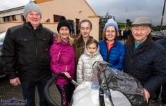 Gary O'Keeffe, Duagh (left) pictured with: Patricia McAuliffe, Nora Ann and Nell Hartnett, Castleisland; Ann Marie O'Keeffe, Duagh and Neilie McAuliffe, Cordal. Baby Timmy Hartnett was sleeping soundly in his push-chair as the photograph was taken at the Kerrie Browne Memorial 5K in Brosna on Sunday morning. ©Photograph: John Reidy