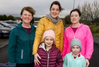 Scartaglin native, Julia Curtin, Brosna (left) with her daughter and granddaughter, Denise and Cáit Carroll and Yvonne and Aisling Lyons, Rockchapel at the start of the Kerrie Browne 5K memorial run / walk in Brosna on Sunday morning. ©Photograph: John Reidy