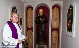 Fr. Seán Horgan pictured during the blessing of the new shrine to St. Pio / Padre Pio in the Church of Saints Stephen and John. The first of the monthly, Tuesday night devotions to St. Pio will be held there on this Tuesday, January 7th at 7:30pm. ©Photograph: John Reidy