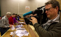 The media of the country focused on Kerry at the Kerry constituency count at Killarney Sports and Leisure Centre on Sunday morning. ©Photograph: John Reidy