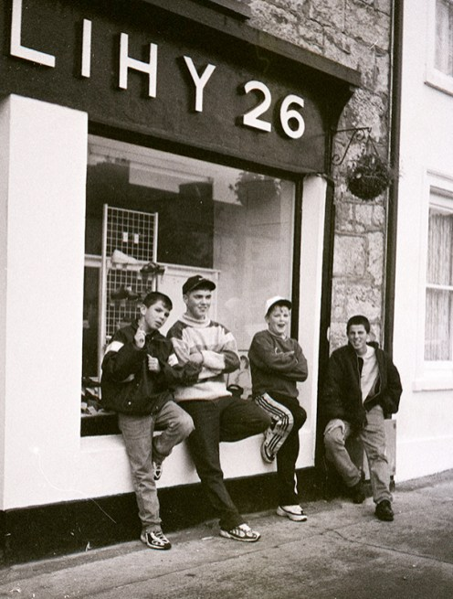 Batty Coffey and his cousins: John Coffey, James O'Brien and Robert Coffey outside Herlihy's in early 1998. Photograph: John Reidy
