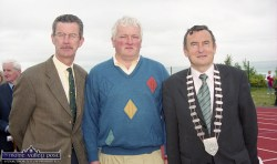 Dick Spring, TD with Joe Walsh and Kerry County Council Chairman Cllr. Ted Fitzgerald on the day of the official opening of An Riocht Athletic Club's facilities in Castleisland. ©Photograph: John Reidy 11-6-2000