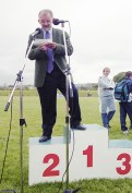 It was a proud day for the hardworking An Ríocht AC Chairman Anthony Cronin as he delivered his Cúpla Focal at the official opening in June 2000. ©Photograph: John Reidy