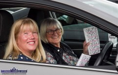 Locals, Cathy O'Shea with her mom, Sheila Murphy taking part in Sunday's Drive-In-Bingo in Castleisland. ©Photograph: John Reidy