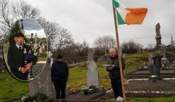 Captain James Hickey's grandnephew, Tom Browne, Castleisland delivering the oration during the centenery ceremony at Dysart Cemetery on St. Stephen's Day with MC, Éamonn Ó Braoin. Inset: Local piper, Noel O'Mahony who graced the occasion with his presence and his music.