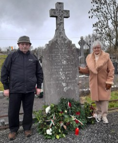 Captain James Hickey's grandnephew, Thomas O'Connor, Headley's Bridge and his sister, Cáit Browne, Castleisland pictured during the centenary ceremony at Dysart Cemetery on St. Stephen's Day.