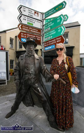 Keel native, Castleisland resident Cathleen Reidy stopping by the Wild Colonial Boy monument on her way to the revived Castlemaine Fair on Sunday. ©Photograph: John Reidy
