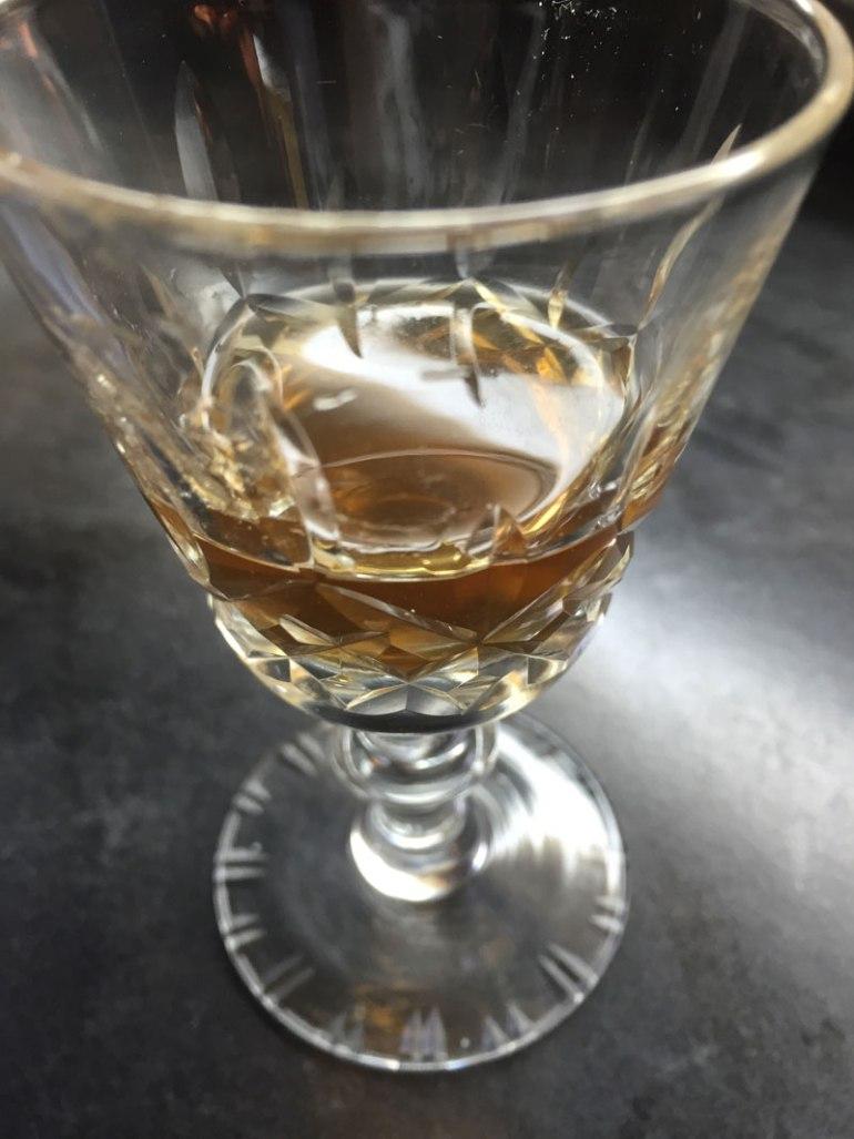 Glass of homemade amaro