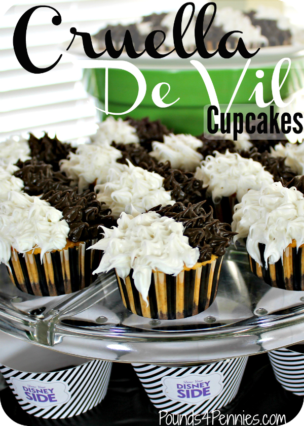 Cruella De Vil Black And White Marble Cupcakes