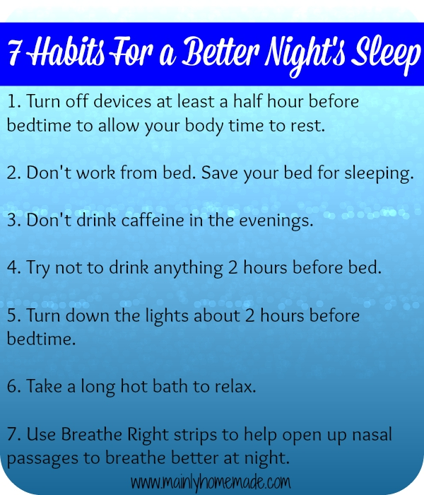 Habits for better nights sleep