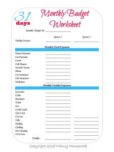 Living on One Income Budget Worksheet