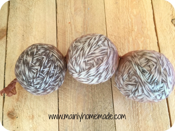 Homemade wool dryer balls in panty hose