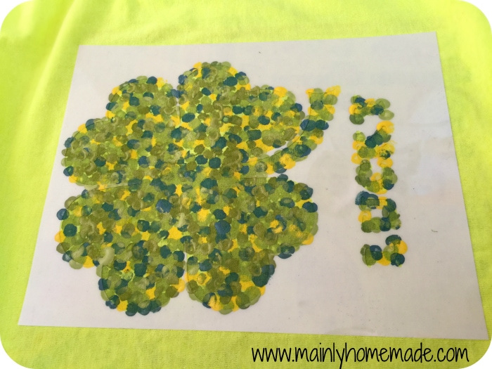 Painted DIY shamrock t-shirt