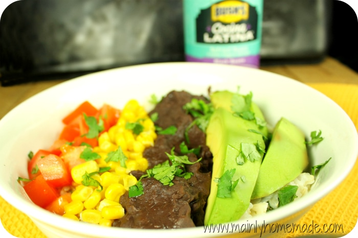Meatless burrito bowl with beans