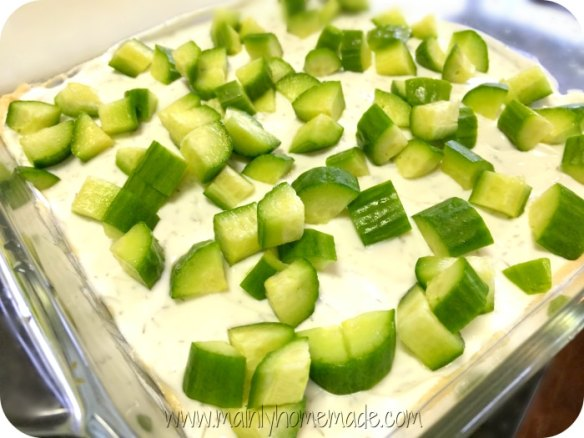 7 Layer Greek Dip with Cucumbers