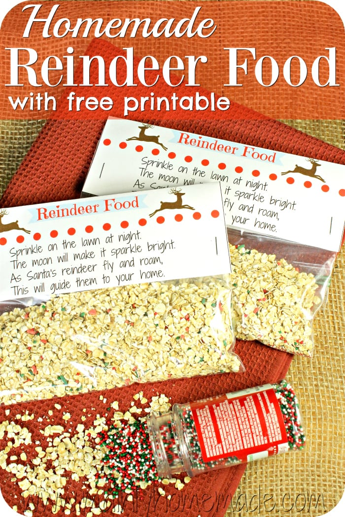Homemade reindeer Food and printable