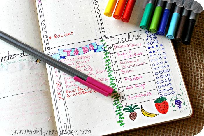 Bullet Journal to Meal Plan Log