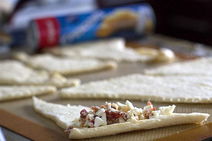 Garlic Feta Bacon on crescent rolls