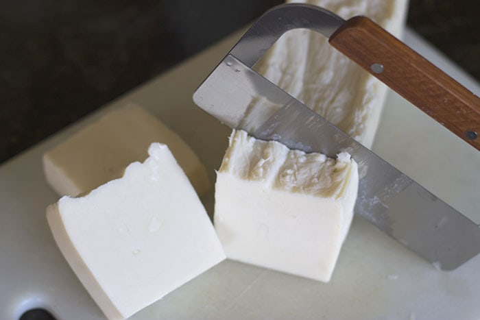 Cutting finished hand milled Soap