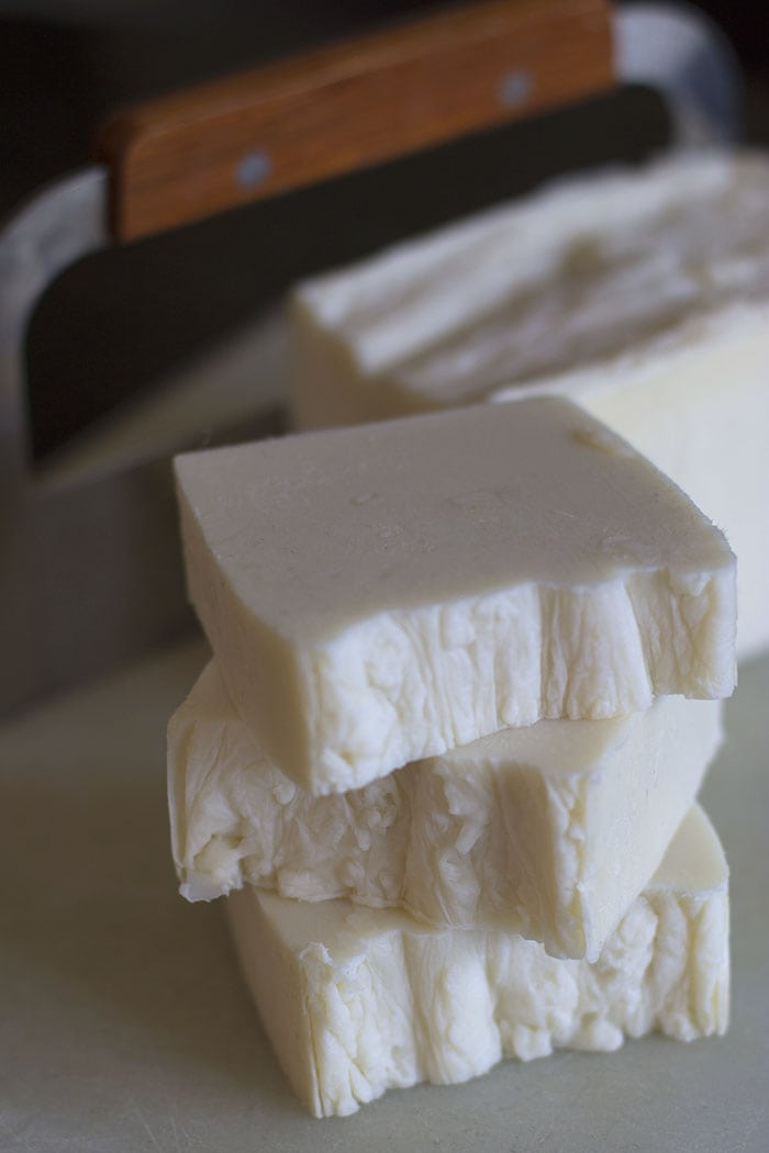 Finished hand milled soap cut and stacked