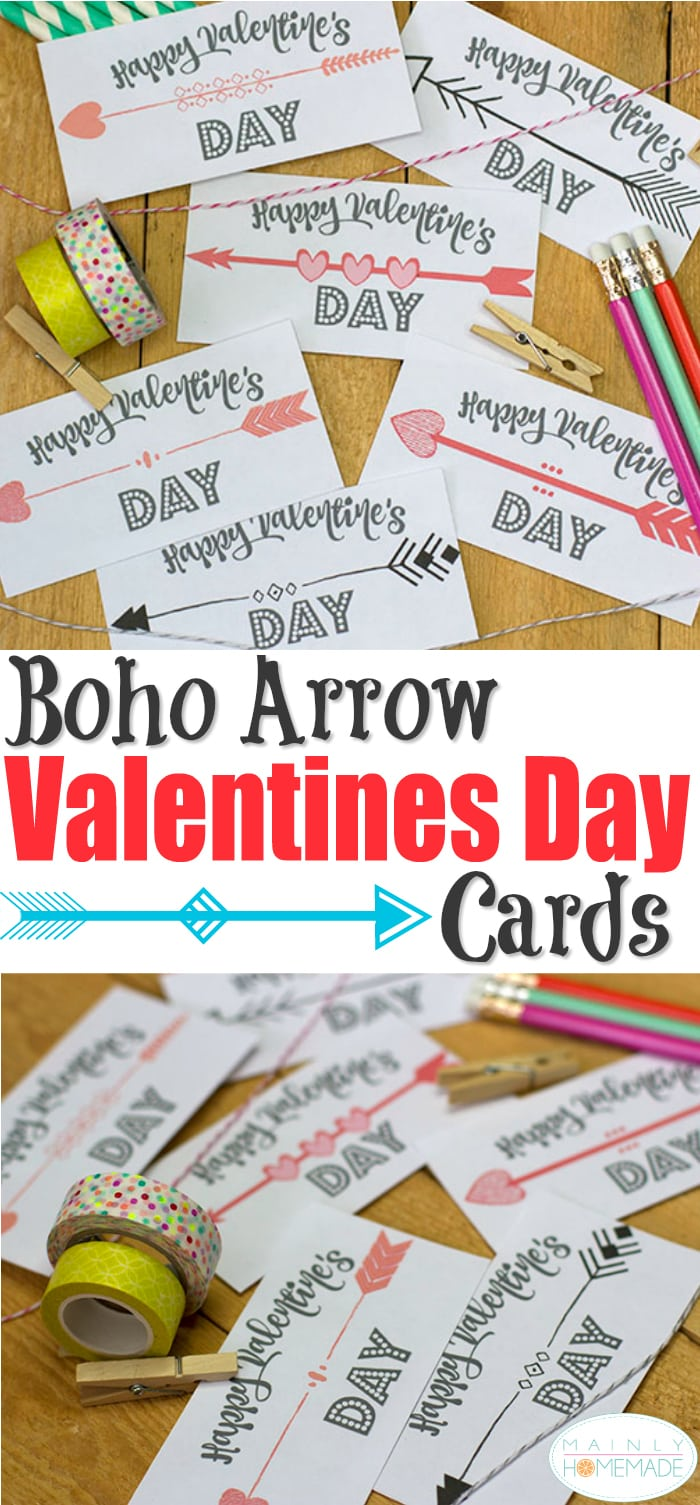 Arrow Valentines Day Cards Free printable for kids or adults.