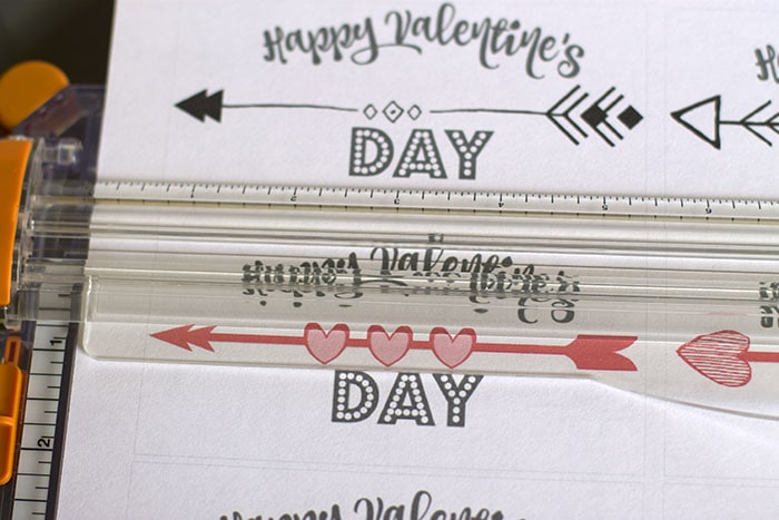 Cutting arrow valentine cards