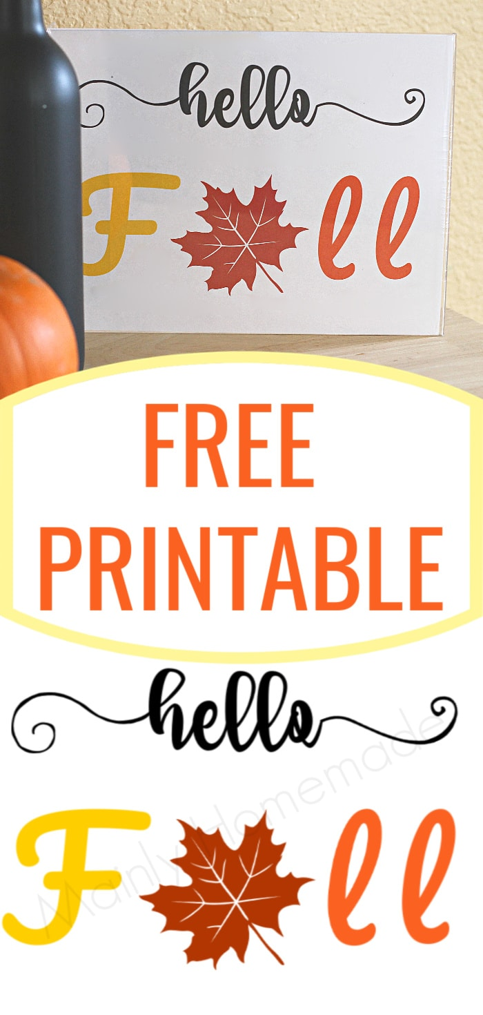Hello Fall Free Printable
