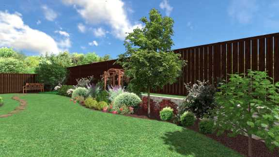 Backyard Landscaping Design Prosper Texas Home featuring trees, shrubs, stone pathway, sod installation and outdoor water feature.