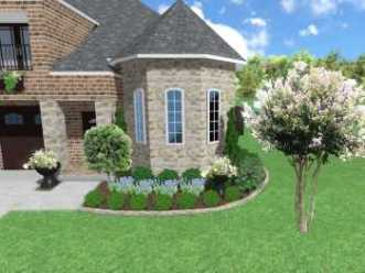 Affordable small front yard landscape designs, Texas native plants, stone edging, drip line irrigation installation