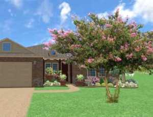 Front Patio Landscape Frisco TX Design by Main Street Lawn Care and Landscaping. This affordable landscaping design features a Crape Myrtle tree in the front yard, shrubs and trees in mulch beds and large planter pots filled with flowers on the patio.