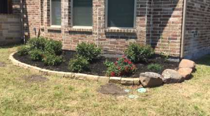 Landscape boulder stone edging, landscaping plants bed, rose bushes, shrubs, Bermuda sod grass
