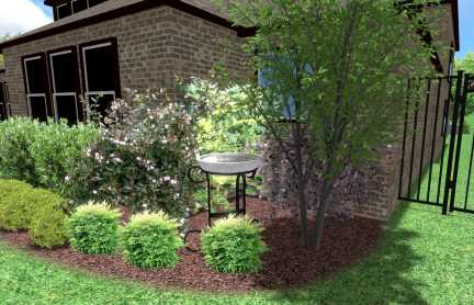 Landscaping Bird Bath Design at a Prosper Texas residence featuring Crape Myrtle trees, mulch, landscape beds and flowering shrubs.