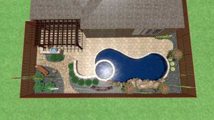 Landscaping for a Swimming Pool in Frisco Texas backyard featuring a paver patio, cedar pergola, outdoor kitchen and landscape boulders.