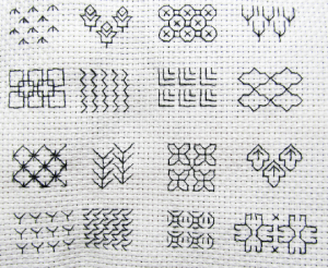 Small selection of Blackwork stitches