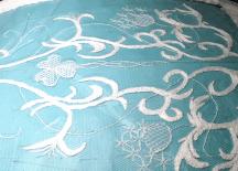 Needlerun lace under construction