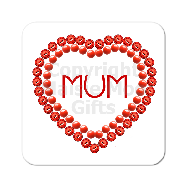 Personalised Mum Heart Love Wooden Gift Coaster Present