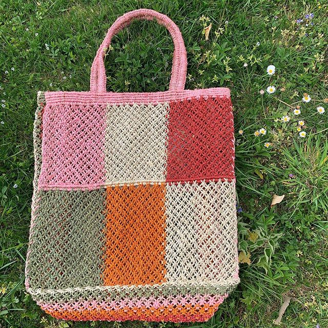 Jute macramé patchwork bag with pink handles - now in stock!