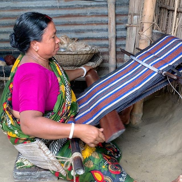 Waist loom weaving in northern Bangladesh