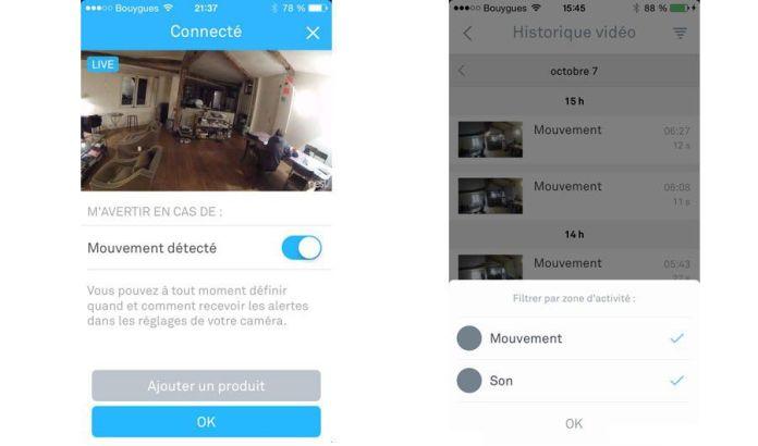 Aperçu de l'application qui permet de visualiser ce qui a été filmé par la Nest Cam.