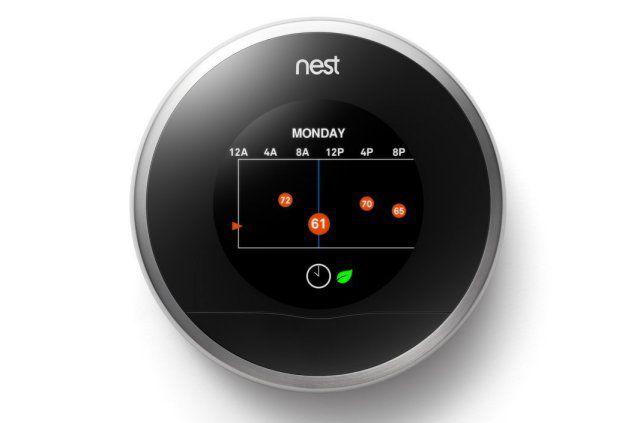 Thermostat connecté Nest dans son état de marche