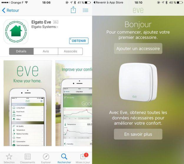 L'application Eve sur smartphone ( iPhone )