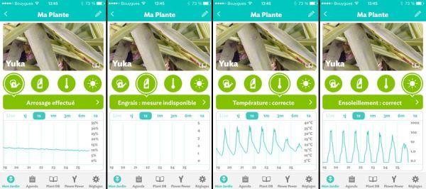 Interface de l'application mobile du Parrot Flower Power