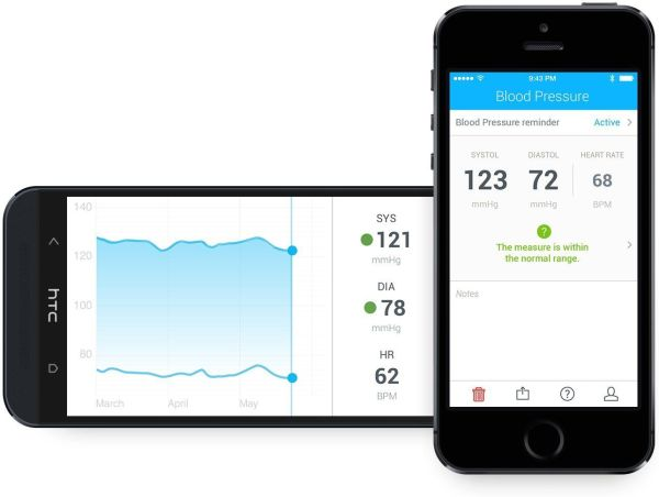 L'application du tensiomètre connecté Withings V2 est compatible iOS et Android