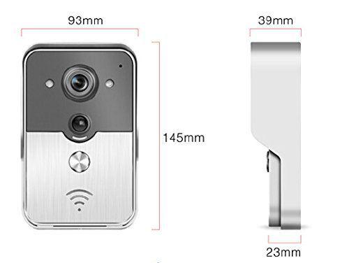Les dimensions de la sonnette connectée avec caméra intégrée B&W