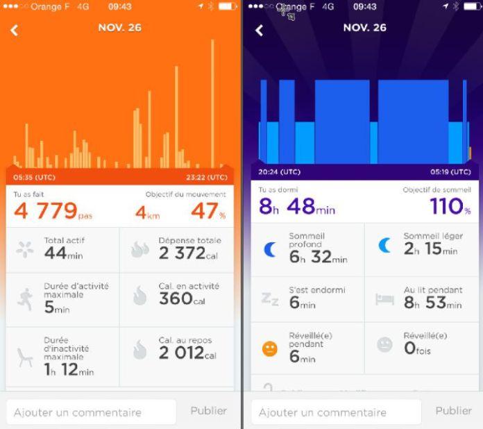 Voici l'interface de l'application mobile qui pilote le Jawbone UP Move