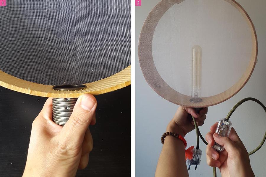 Les étapes pour réaliser la lampe de chevet tamis
