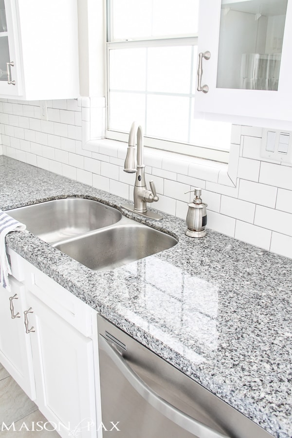 Source List for Classic White Kitchen - Maison de Pax on Backsplash Ideas For White Cabinets And Granite Countertops  id=38171