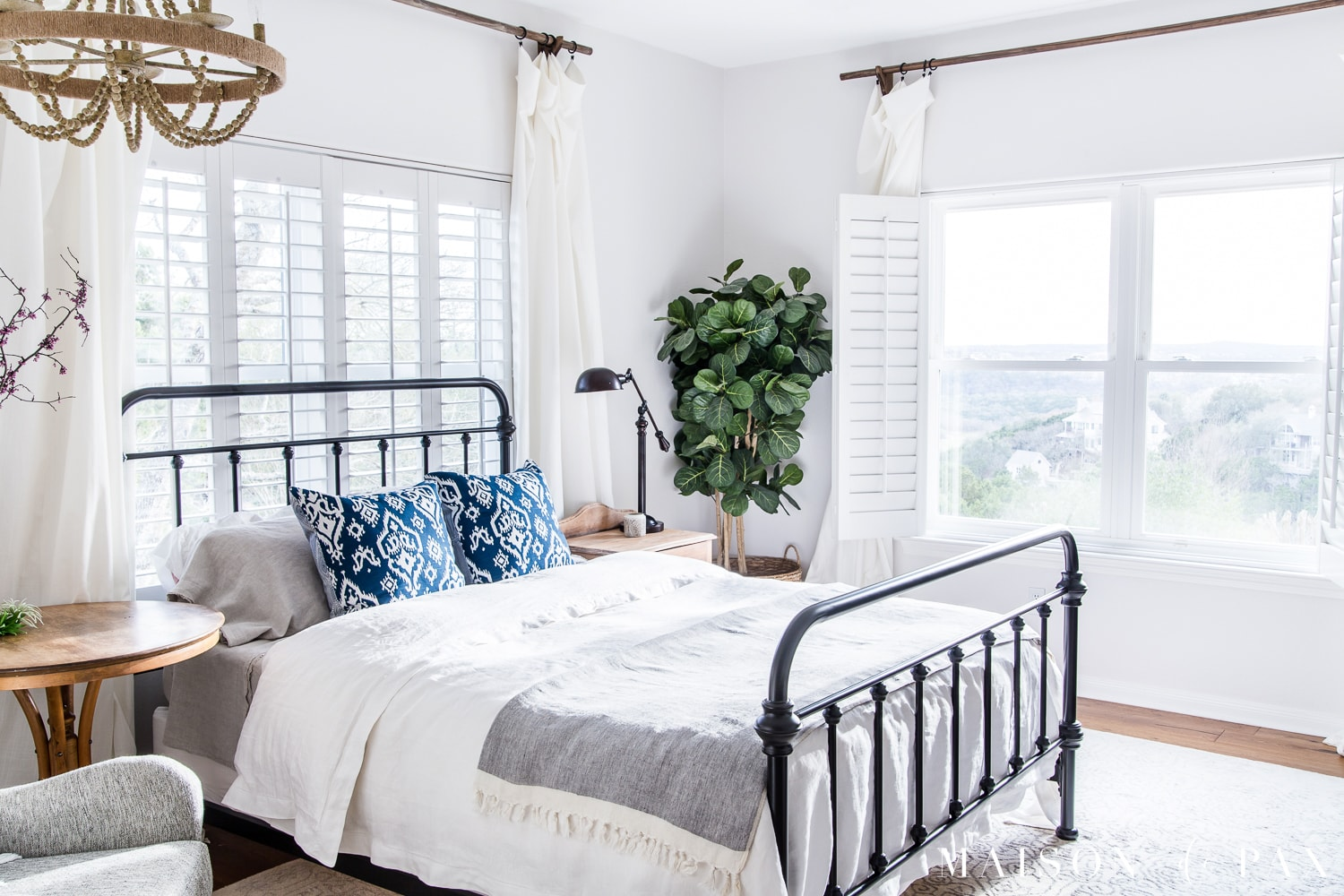 Simple Master Bedroom Decorating Ideas for Spring   Maison de Pax Mostly white master bedroom   so bright and open  Looking to add a seasonal  touch